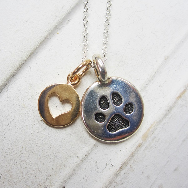 Small Paw Print Circle Heart Rose Gold Necklace
