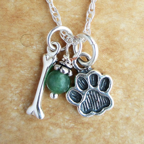 Dog Bone and Paw Print Mini Sterling Silver Necklace