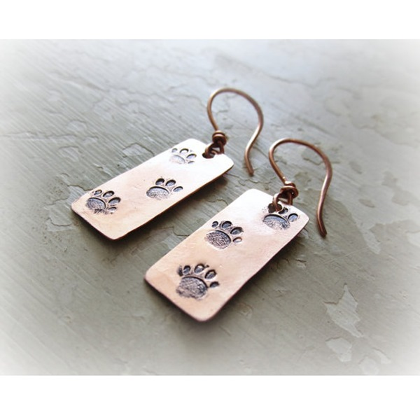 Paw Print Hand Stamped Copper Dangle Earrings