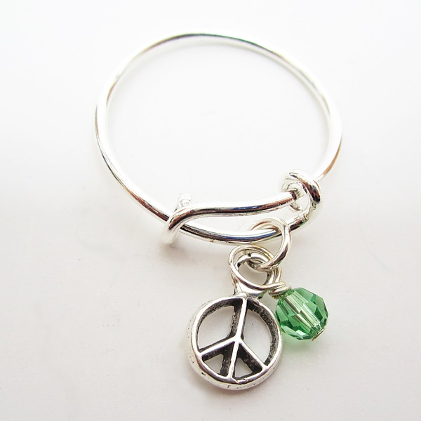 Peace Dangle Adjustable Stackable Ring