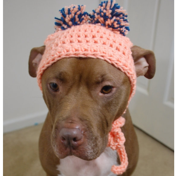 Peach Crochet Hat with Peach/Teal Pom Pom