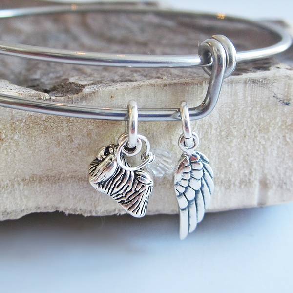 Pekingese Mini Angel Wing Stackable Bangle Bracelet