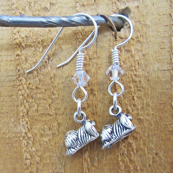 Pekingese Sterling Silver Earrings
