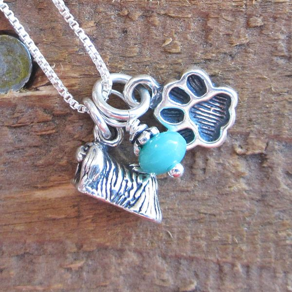 Pekingese Mini Paw Print Sterling Silver Necklace