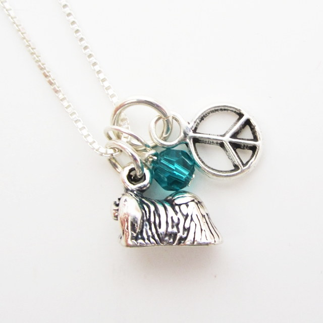 Pekingese Mini Peace Sterling Silver Necklace