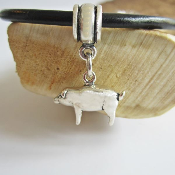 Pig Charm Bracelet: Pig Mini Sterling Silver European-Style Charm And Bracelet