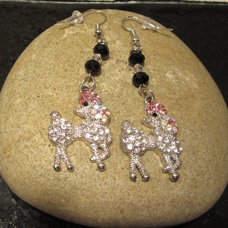 Precious Pink Poodle Earrings