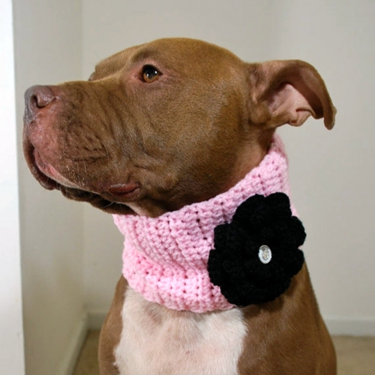 Pink with Black Flower Crochet Cowl