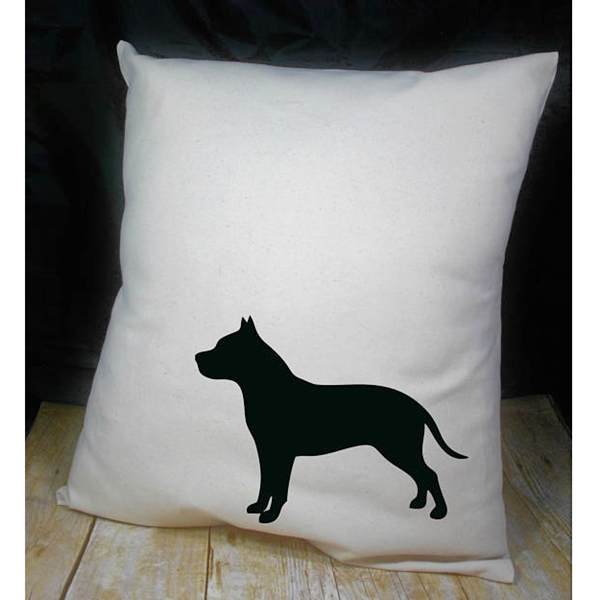 Black Cropped Pit Bull on Canvas Pillow Cover 18x18