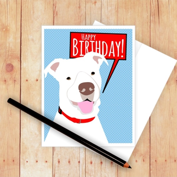 Happy Birthday Pit Bull Note Card