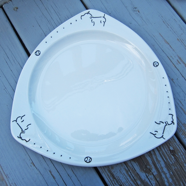 "Pit Bull 10.5"" Handpainted Large Plate"