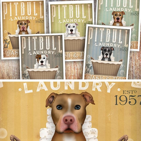 Pit Bull Laundry Wash & Dry 8x10 Giclee Print (multi color)