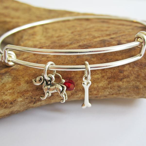 Pit Bull Mini Bone Stackable Bangle Bracelet