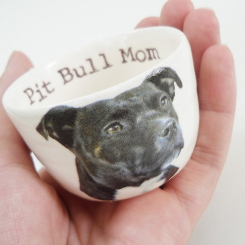 Handmade Pit Bull Mom with Dog Ceramic Mini Dish