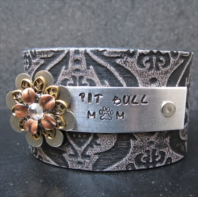 Pit Bull Mom Leather Cuff
