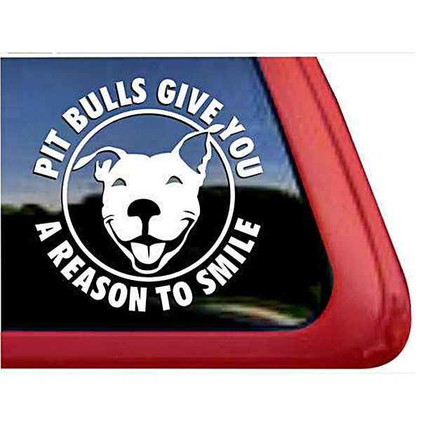 Pit Bulls Give You a Reason to Smile Large Decal