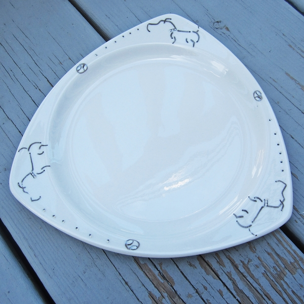 "Pit Bull Handpainted 7.25"" Small Plate"