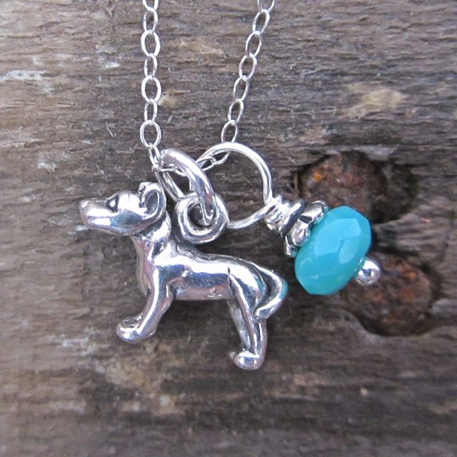 Pit Bull Glass Bead  Sterling Silver Necklace