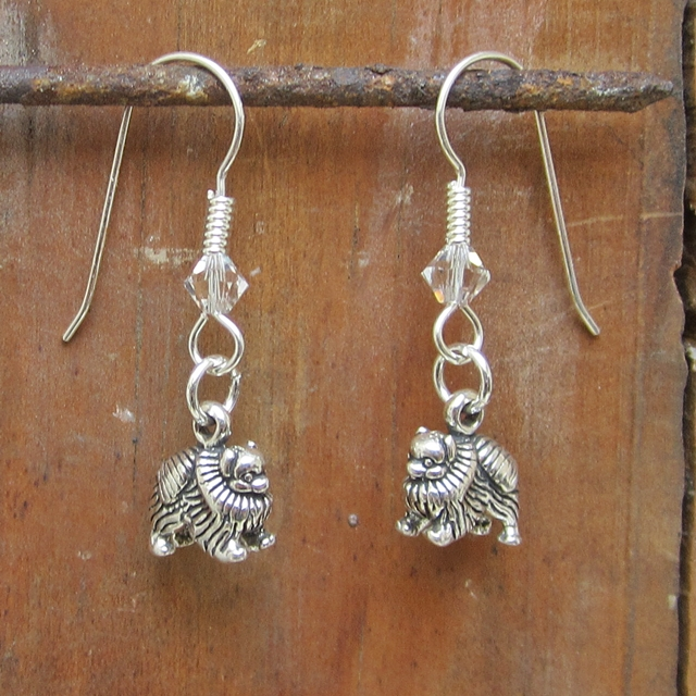 Pomeranian Sterling Silver Earrings