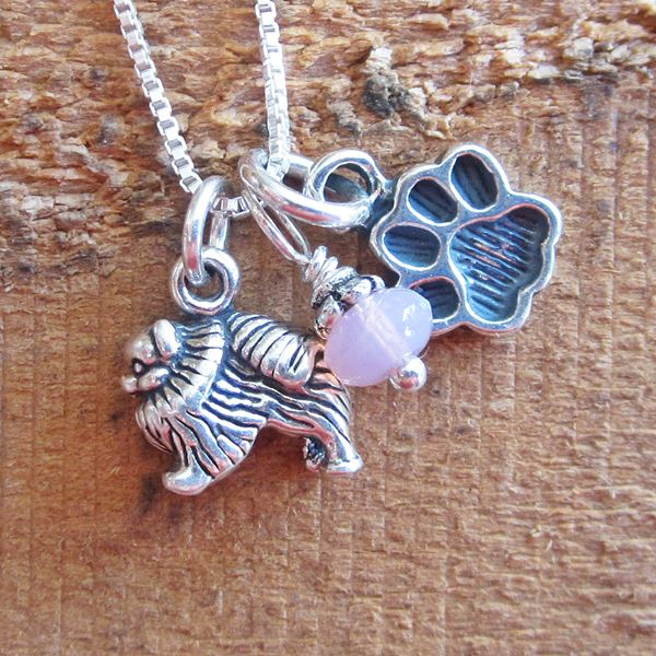 Pomeranian Mini Paw Print Sterling Silver Necklace