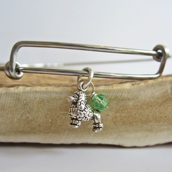 "Poodle Mini Dangle Stackable Bangle Bracelet (2.5""-3\"")"