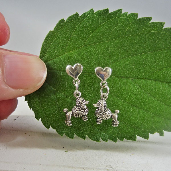 Poodle Mini Heart Sterling Silver Earrings