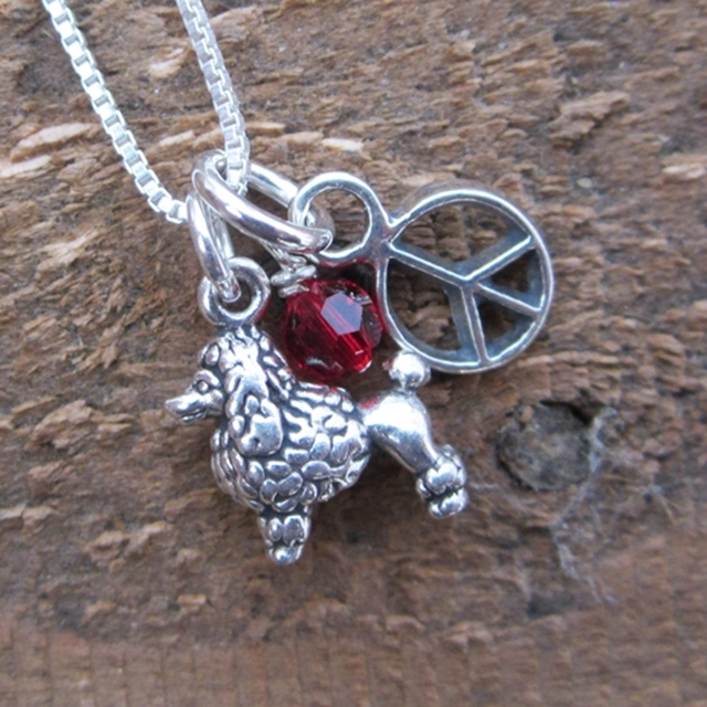 Poodle Mini Peace Sterling Silver Necklace