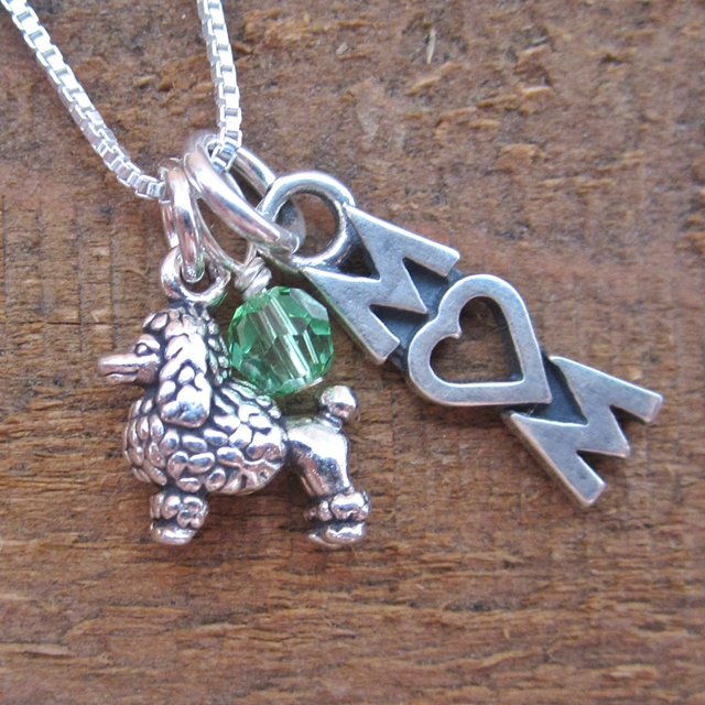Poodle Mom Mini Sterling Silver Necklace