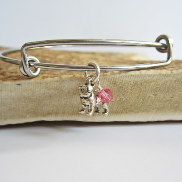 "Pug Mini Dangle Stackable Bangle Bracelet (2.5""-3\"")"