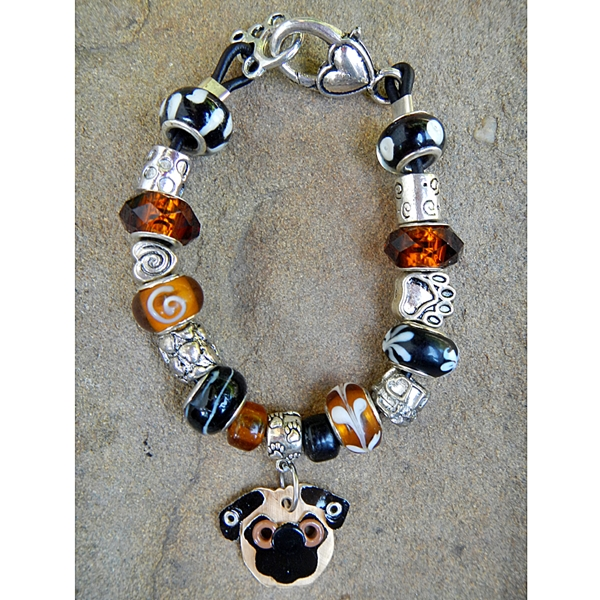 "Pug 7.5"" Silver & Glass Bracelet (one of a kind)"