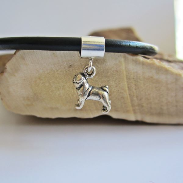 Pug Mini Sterling Silver European-Style Charm and Bracelet