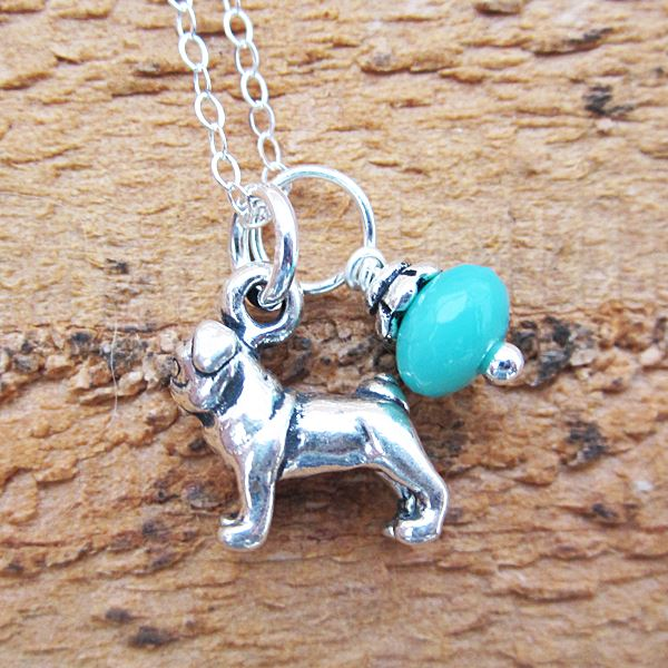 Pug Glass Bead Sterling Silver Necklace