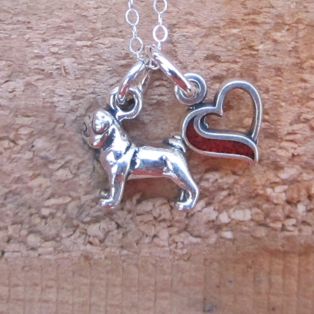 Pug In My Heart Mini Sterling Silver Necklace