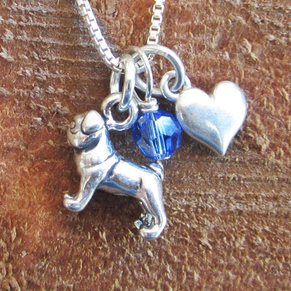 Pug Mini Heart Sterling Silver Necklace