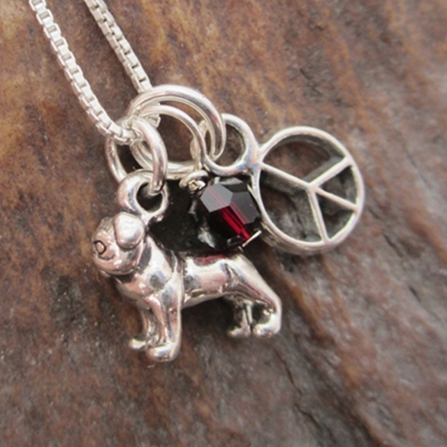 Pug Mini Peace Sterling Silver Necklace