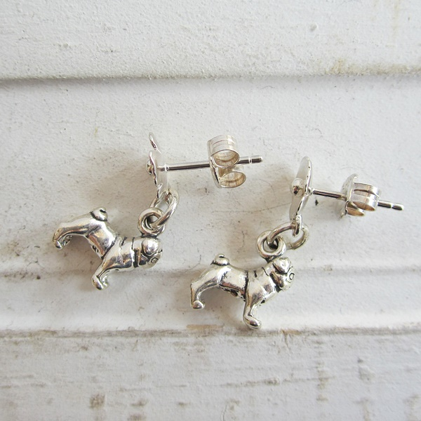 Pug Poppy Sterling Silver Earrings