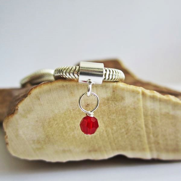 Red Birthstone Swarovski Crystal Charm and Bracelet