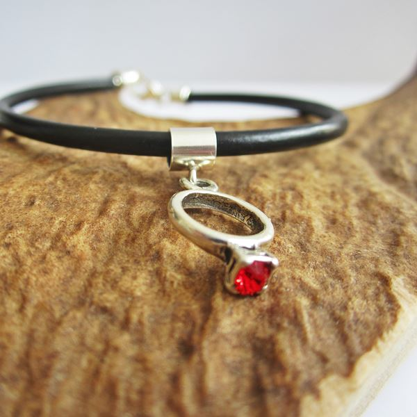Red Birthstone Ring European-Style Charm and Bracelet