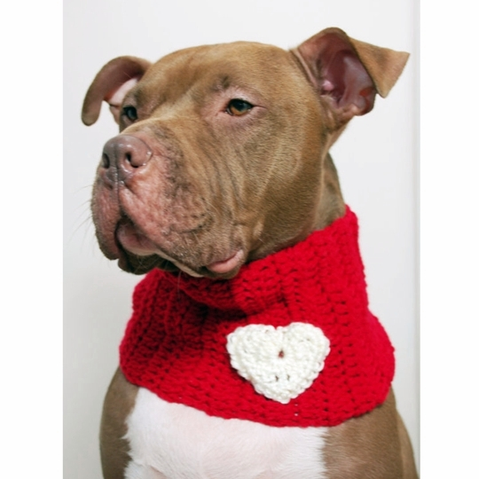 Red with White Heart Crochet Cowl