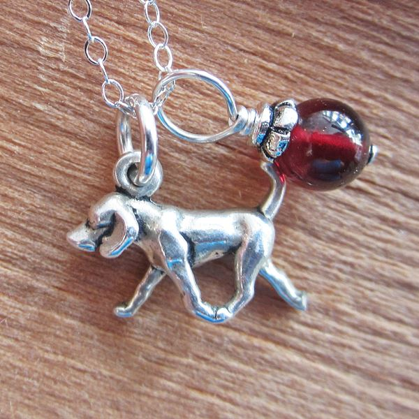 Retriever Glass Bead Sterling Silver Necklace