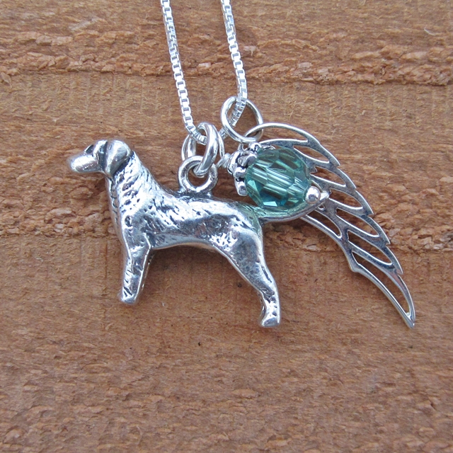 Labrador Large Angel Wing Sterling Silver Necklace