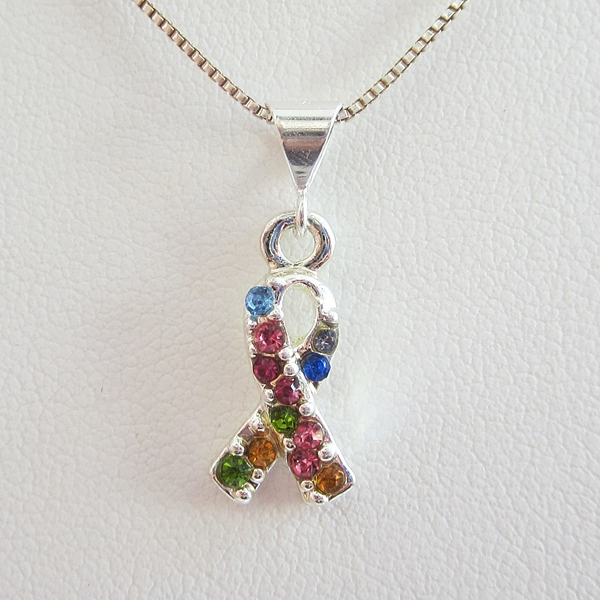 Rainbow Crystal Ribbon Pendant Charm and Necklace