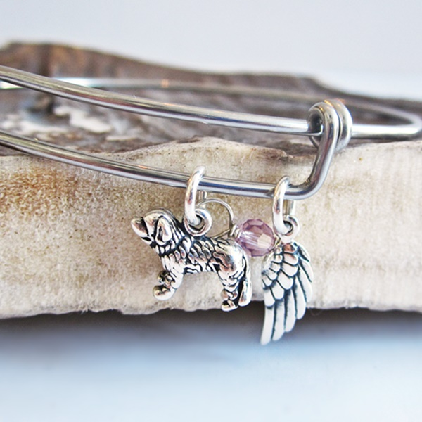 Saint Bernard Mini Angel Wing Stackable Bangle Bracelet