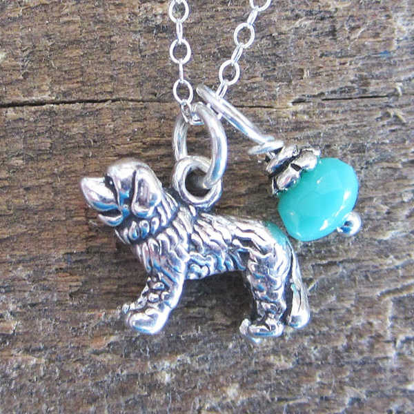 Saint Bernard Glass Bead Sterling Silver Necklace
