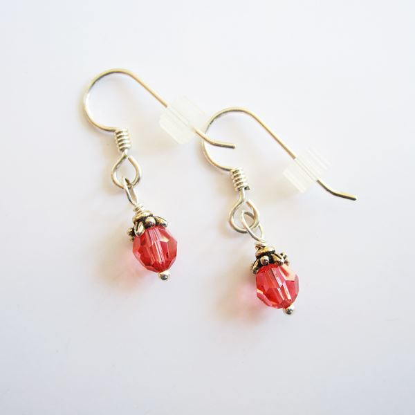 Salmon Swarovski 6mm Crystal Earrings