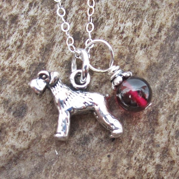 Schnauzer Glass Bead Sterling Silver Necklace
