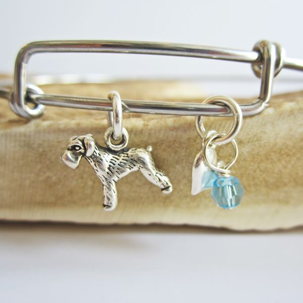 "Schnauzer Mini Heart Stackable Bangle Bracelet (2.5""-3\"")"