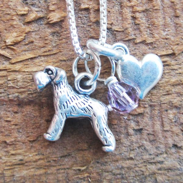 Schnauzer Mini Heart Sterling Silver Necklace