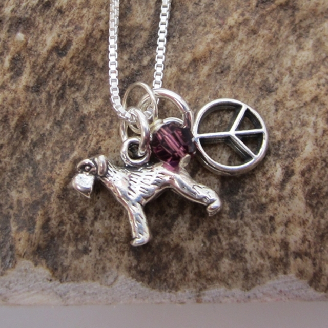 Schnauzer Mini Peace Sterling Silver Necklace