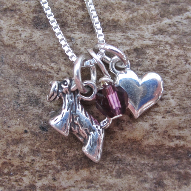 Scottish Terrier Mini Heart Sterling Silver Necklace